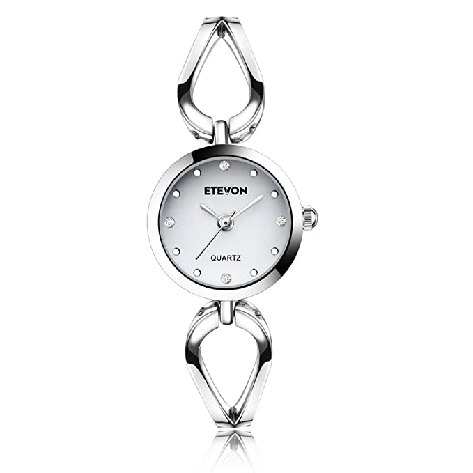 �Mother's Day Gift� ETEVON Women's Quartz Silver Wrist Watch with Small Crystal Dial and Hollow Bracelet Water Resistant, Casual Simple Dress Watches for Women