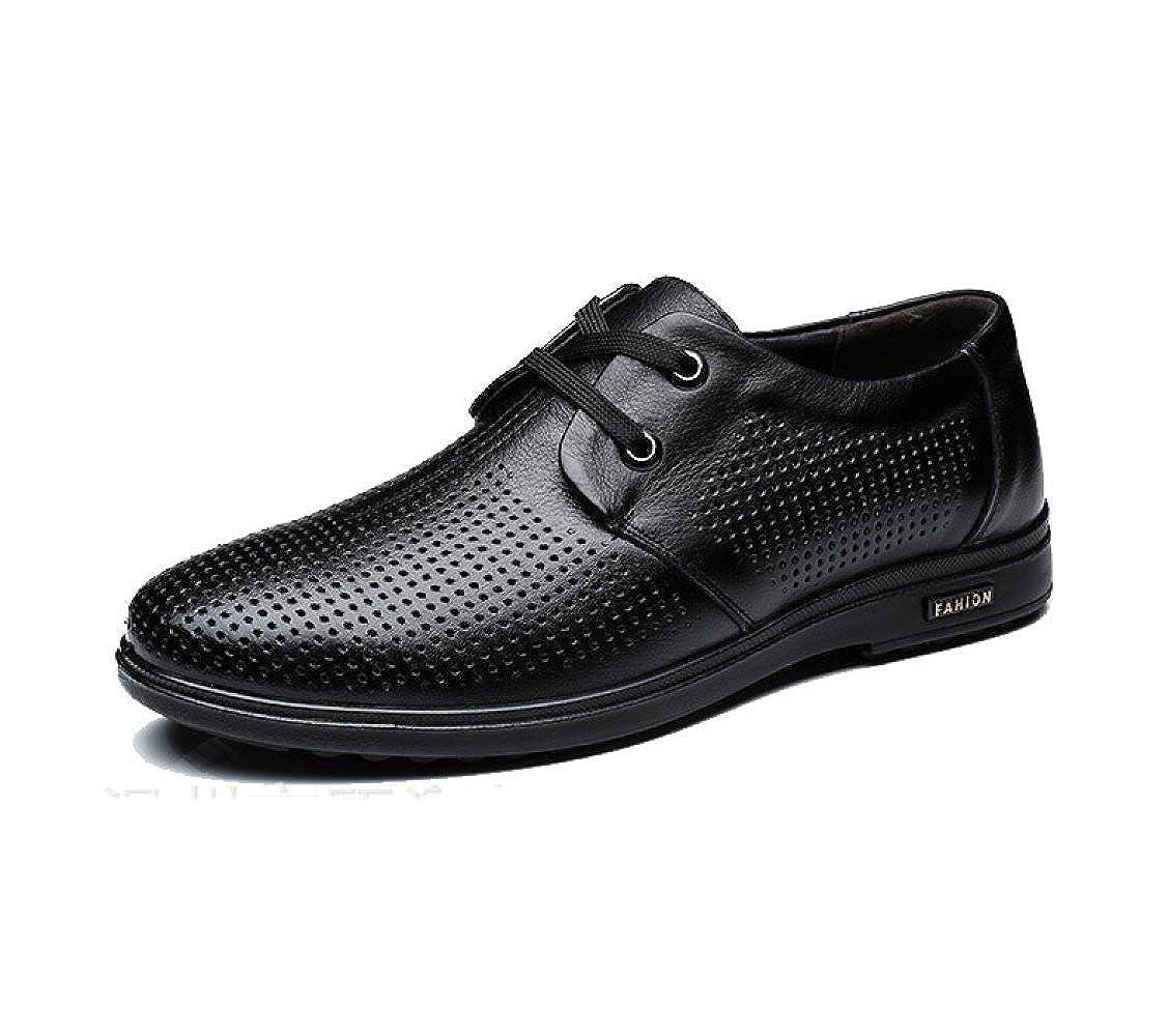 LEDLFIE Herren Herren LEDLFIE Echtes Leder Schuhe Atmungsaktiv Hohl Freizeitschuhe 55e43a