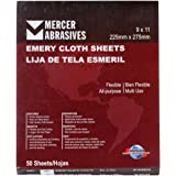 """Mercer Industries 216240 Grit 240 9"""" x 11"""" Multi-Purpose Emery Cloth Sheets (50-Pack)"""