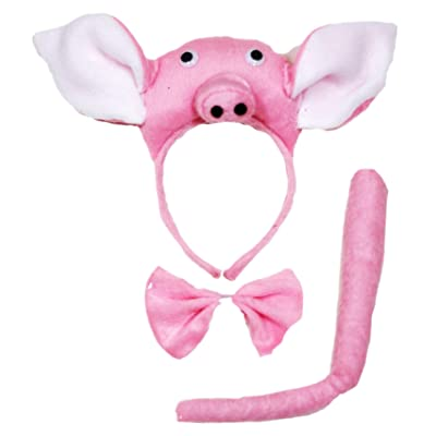 Petitebella 3D Piglet Headband Bowtie Tail 3pc Costume (Pink, One Size): Toys & Games