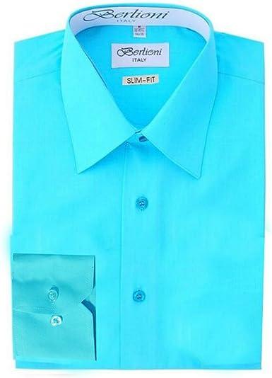Berlioni Italy Men/'s Premium Classic French Convertible Cuff Solid Dress Shirt