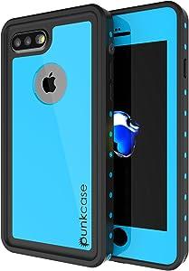 iPhone 8 Plus Waterproof Case, Punkcase [StudStar Series] [Slim Fit] [IP68 Certified] [Shockproof] [Dirtproof] [Snowproof] Universal Armor Cover for Apple iPhone 7 Plus & 8+ [Light Blue]