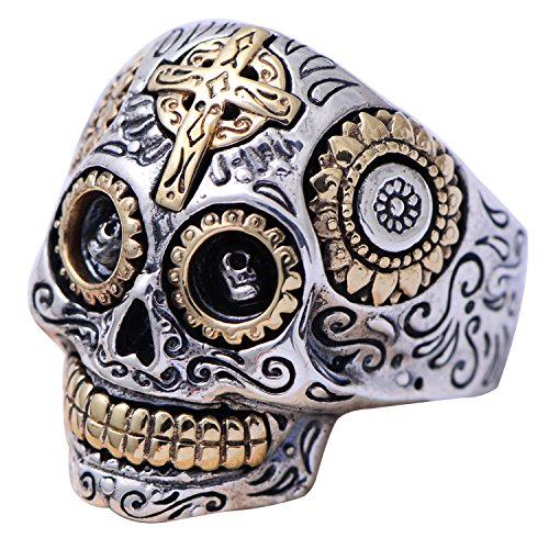 Gothic Cool 925 Sterling Silver Gold Mexican Sugar Skull Head Ring Biker Jewelry for Men Women Size 12.5