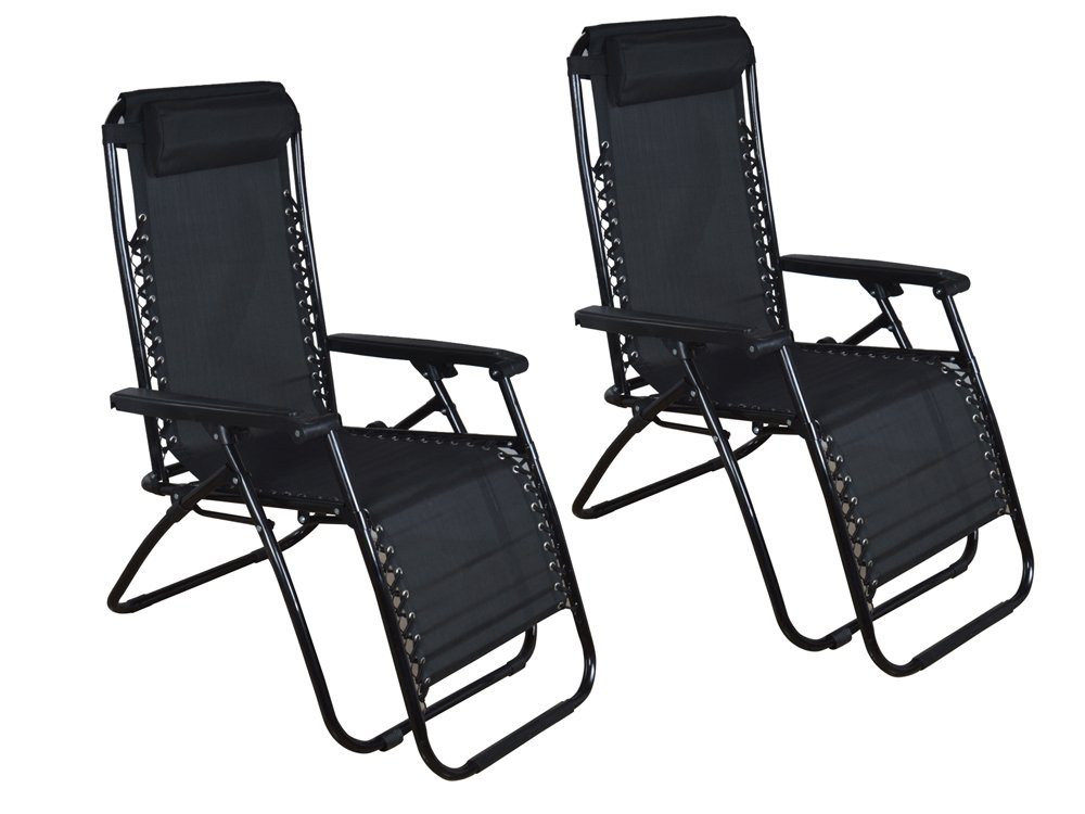 Amazon.com : TMS 2 Outdoor Zero Gravity Lounge Chair Beach Patio Pool Lawn  Deck Yard Folding Recliner Black : Garden U0026 Outdoor