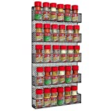 Spice Racks HC-2302 Organizer-Space Saving Wall Mount 5 Tier Storage Shelves for Kitchen, Pantry, or Cabinets-Rustic Vintage Metal Wire Design by Home-Complete, Black