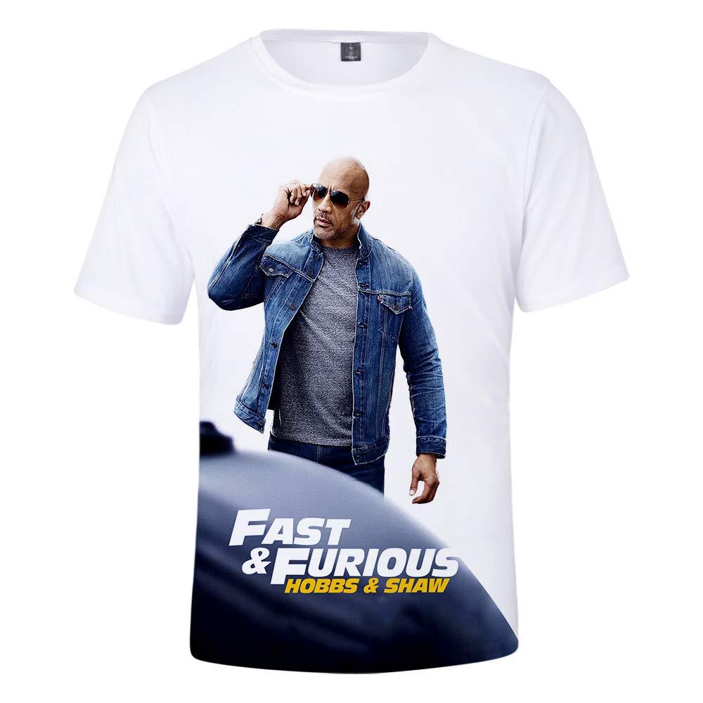 YanmmYan Hobbs and Shaw The Fast N Furious Boys 3D Printing Grid Breathable Shirts T-Shirt