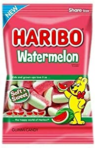 Haribo Watermelon Gummy Candy, 4.1oz Bag (Pack of 12)