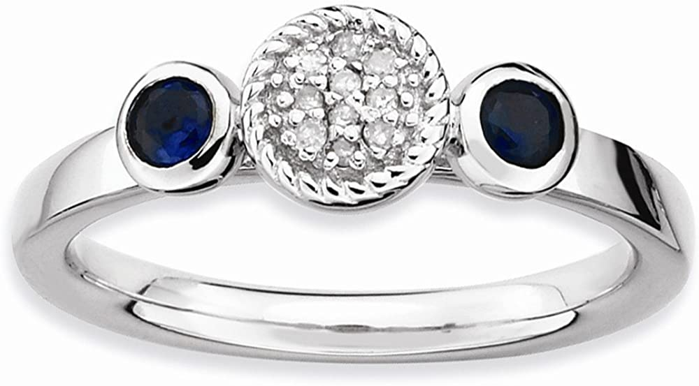 Stackable Expressions Sterling Silver Db Round Cr. Sapphire & Dia. Ring