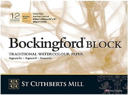 9x12in GLUED 140lb 300gsm Rough 12s Bockingford Pad