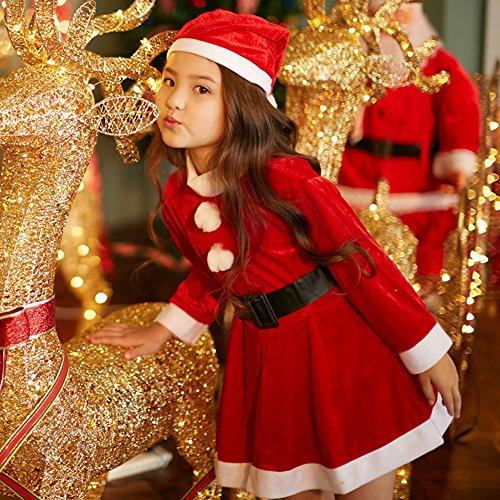 Mrs Santa Costume For Kids (Christmas Santa Costume For Child Girls Red Velvet Dress Santa Hat and Belt 028C)