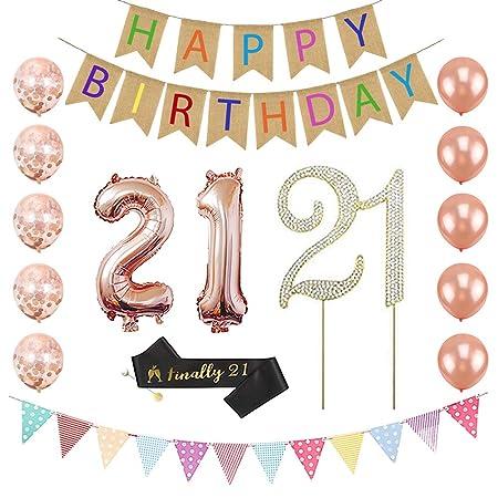 21 cumpleaños decoración de fiesta para ella - Número 21 ...