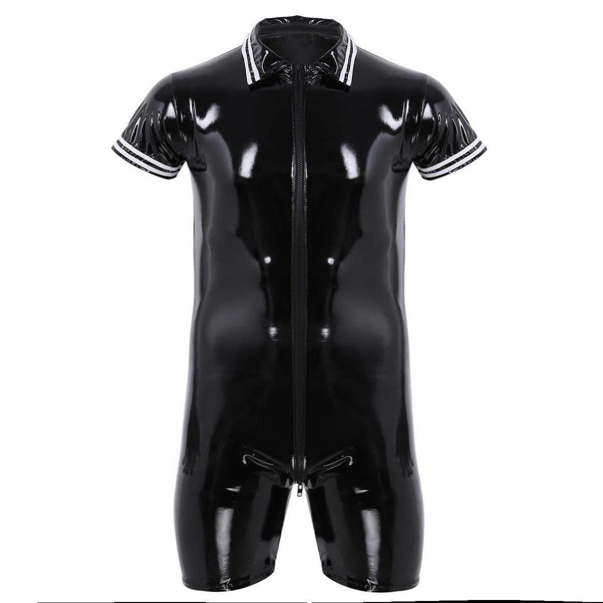 CHICTRY Men's Lapel Shiny Metallic Wrestling Singlet Boyleg Leotard Bodysuit Swimsuit Black XX-Large