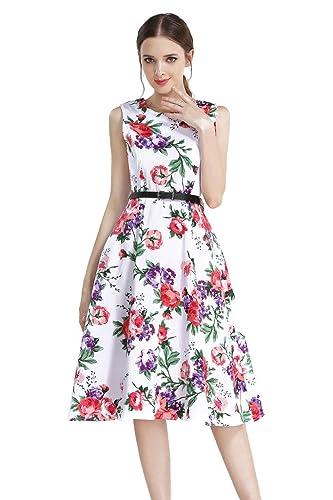 AEETE Sleeveless Cotton Vintage Tea Dress with Belt