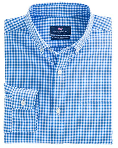 Vineyard Vines Mens Classic Fit Murray Shirt   Seafloor Gingham   Hull Blue  Medium  Hull Blue