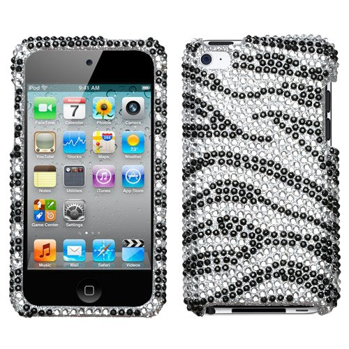 (Silver Black Zebra Full Diamond Bling Snap on Design Case Hard Case Skin Cover Faceplate for Apple Ipod Touch 4g 4th Generation + Screen Protector Film )