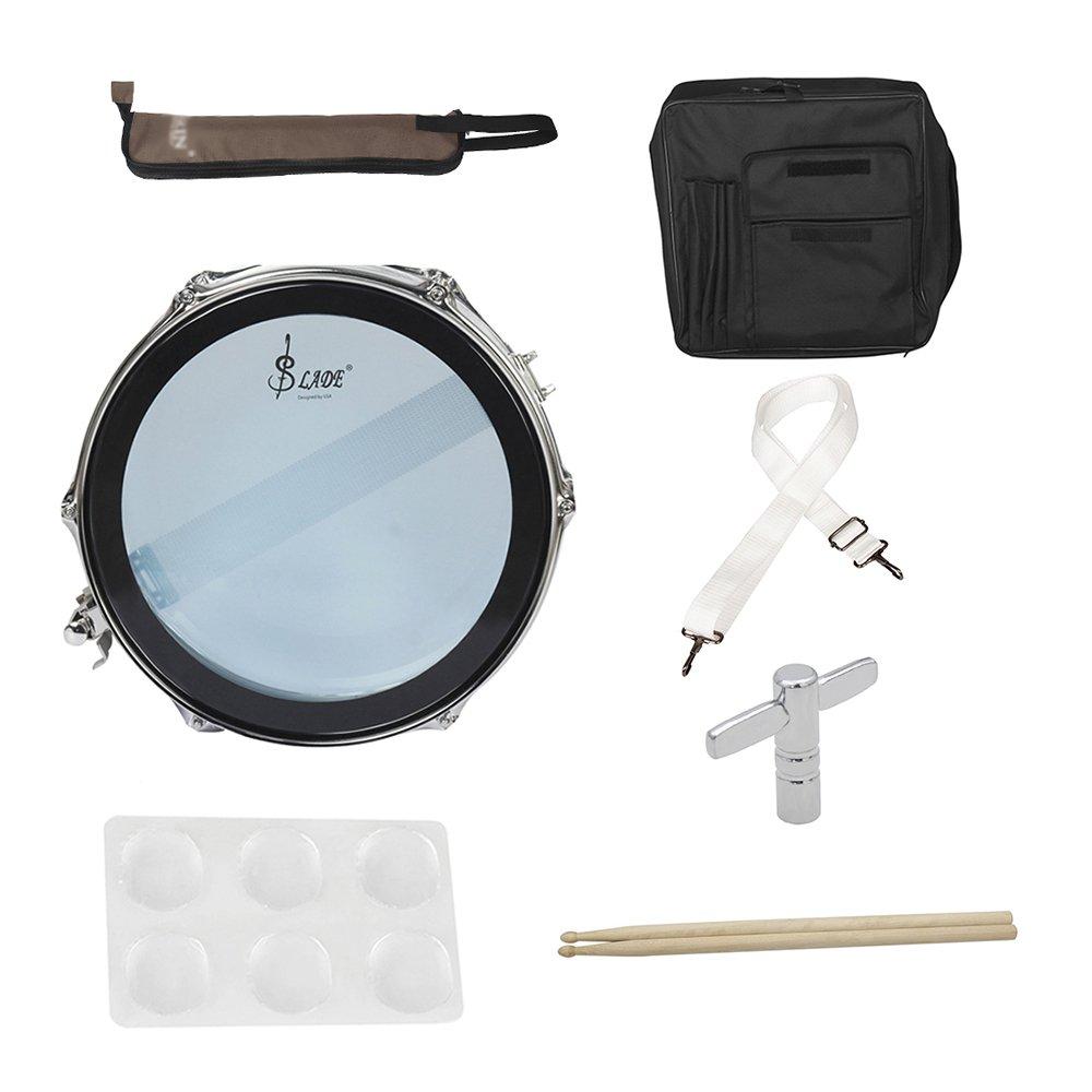 Muslady 14 in/inch Snare Drum Kit Stainless Steel Drum Body PVC Drum Head with Drum Bag Strap Drumsticks Drumstick Bag Drum Damper Gel Pads by Muslady