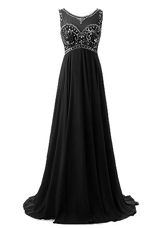 da7e2037d522 Callmelady Sheer Neck Beading Chiffon Long Prom Dresses Evening Gowns:  Amazon.co.uk: Clothing