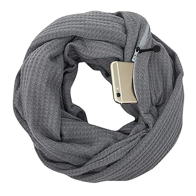 Wählen Sie für echte Rabatt zum Verkauf unverwechselbares Design CADeN Pocket Scarf Infinity Schal versteckter Reißverschluss  Aufbewahrungstasche leichtes weiches Wickel-Lätzchen für Smartphone  Lippenstift Passport