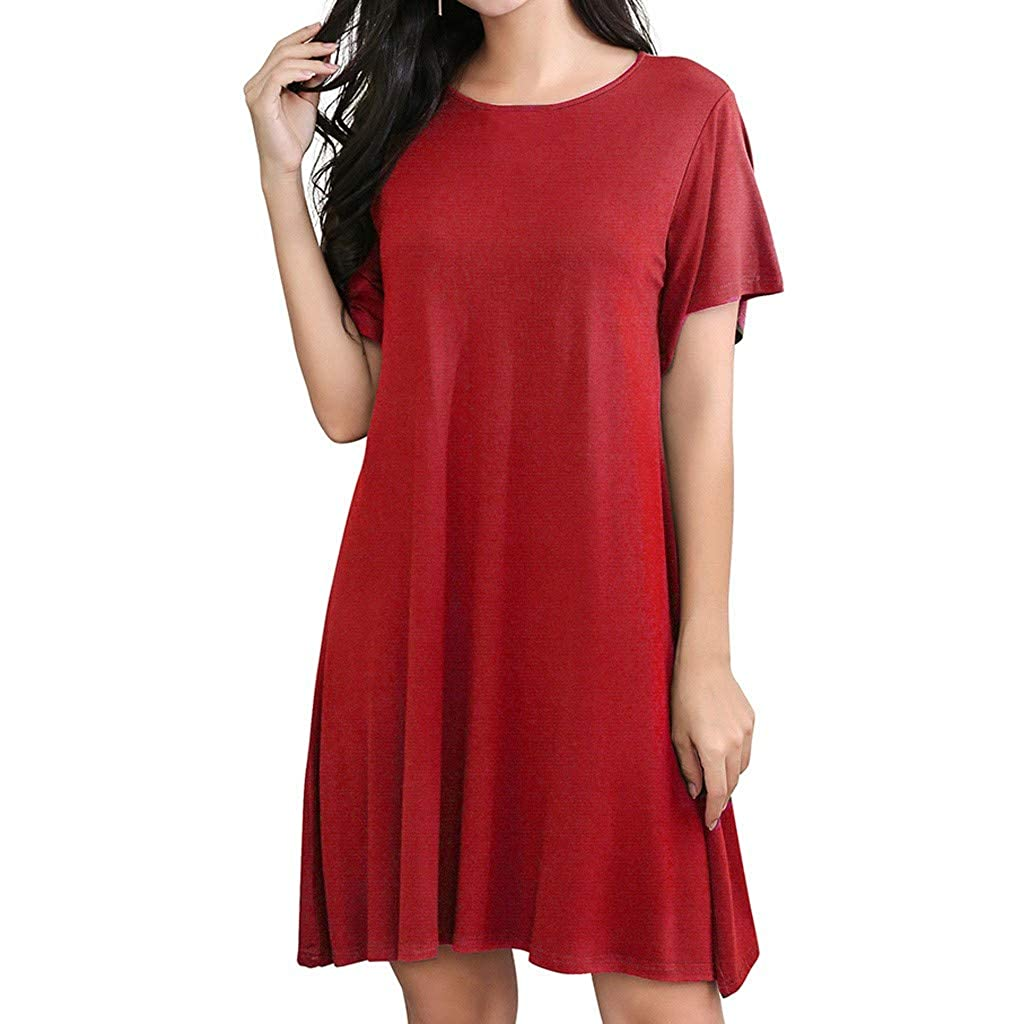 CreazyBee Literary Womens Casual Simple V-Neck Solid Color Lrregular Loose Summer Dresses