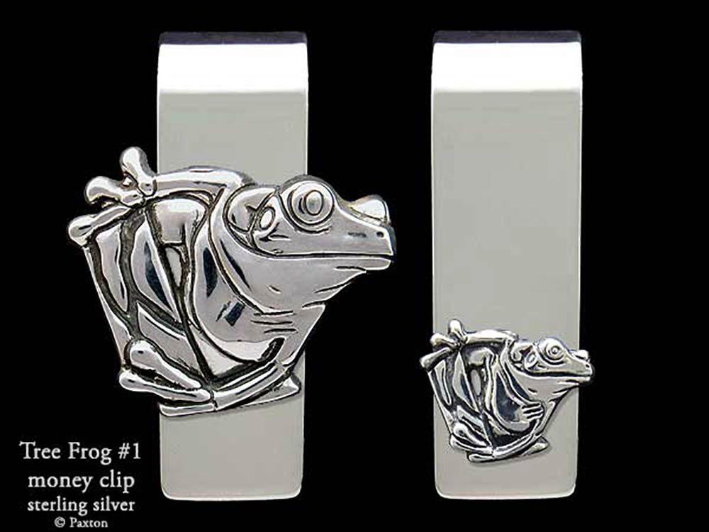Tree Frog #1 Money Clip in Solid Sterling Silver Hand Carved, Cast & Fabricated by Paxton