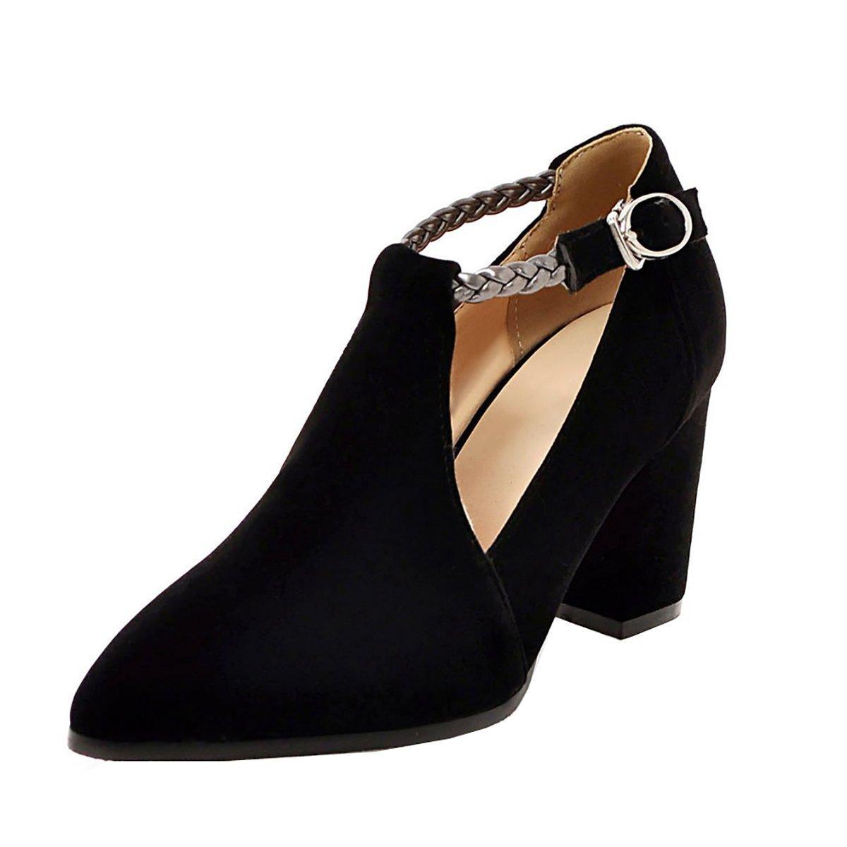 fd5abf0f9ec531 YE Damen T Strap Pumps Blockabsatz High Heels mit Riemchen Bequem Elegant  Schuhe 38 EU