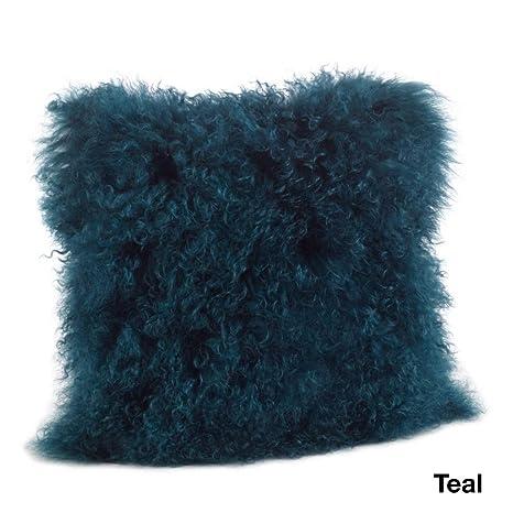 Amazon.com: 1 almohada de piel de cordero mongol de color ...