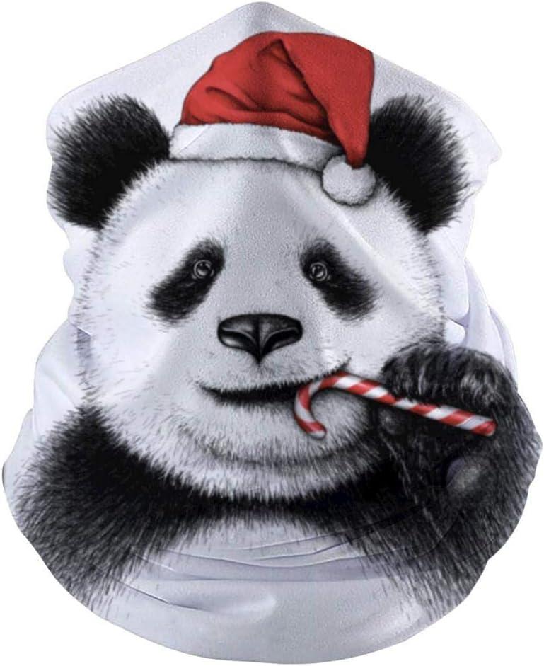 Mamihong Cute Christmas Hat Panda Bandanas de mascarilla Mediana para Polvo, Sports Casual Headwear Seamless Neck Gaiter, Headwrap White