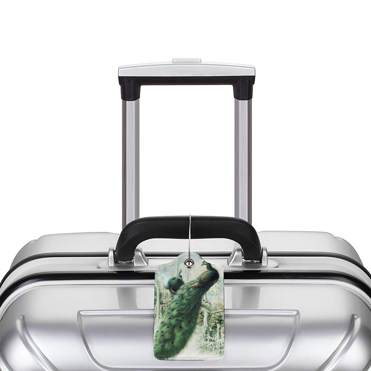 Fantasy Green Peacock Beautiful Animal Birds Peahen Feathers Luggage Tag Label Travel Bag Label With Privacy Cover Luggage Tag Leather Personalized Suitcase Tag Travel Accessories
