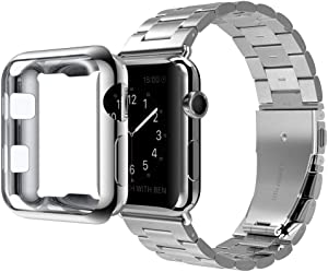 U191U Compatible with Apple Watch Band Series 4/3/2/1, Stainless Steel Bracelet Strap w/Adapter+ TPU Soft Case Cover for iWatch 38/40/42/44mm (Silver 44mm)