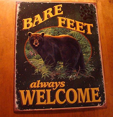 Bare Feet Always Welcome Black Bear In Woods Paw Print Artwork Metal Sign