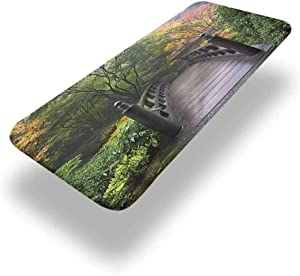 LCGGDB Nature Polyester Picnic Table Fitted Tablecloth Cover,Bridge in Japanese Garden Elastic Edged Fitted Table Cloth,36in x 96in (8ft),for Travel Christmas Picnics Parties Outdoor