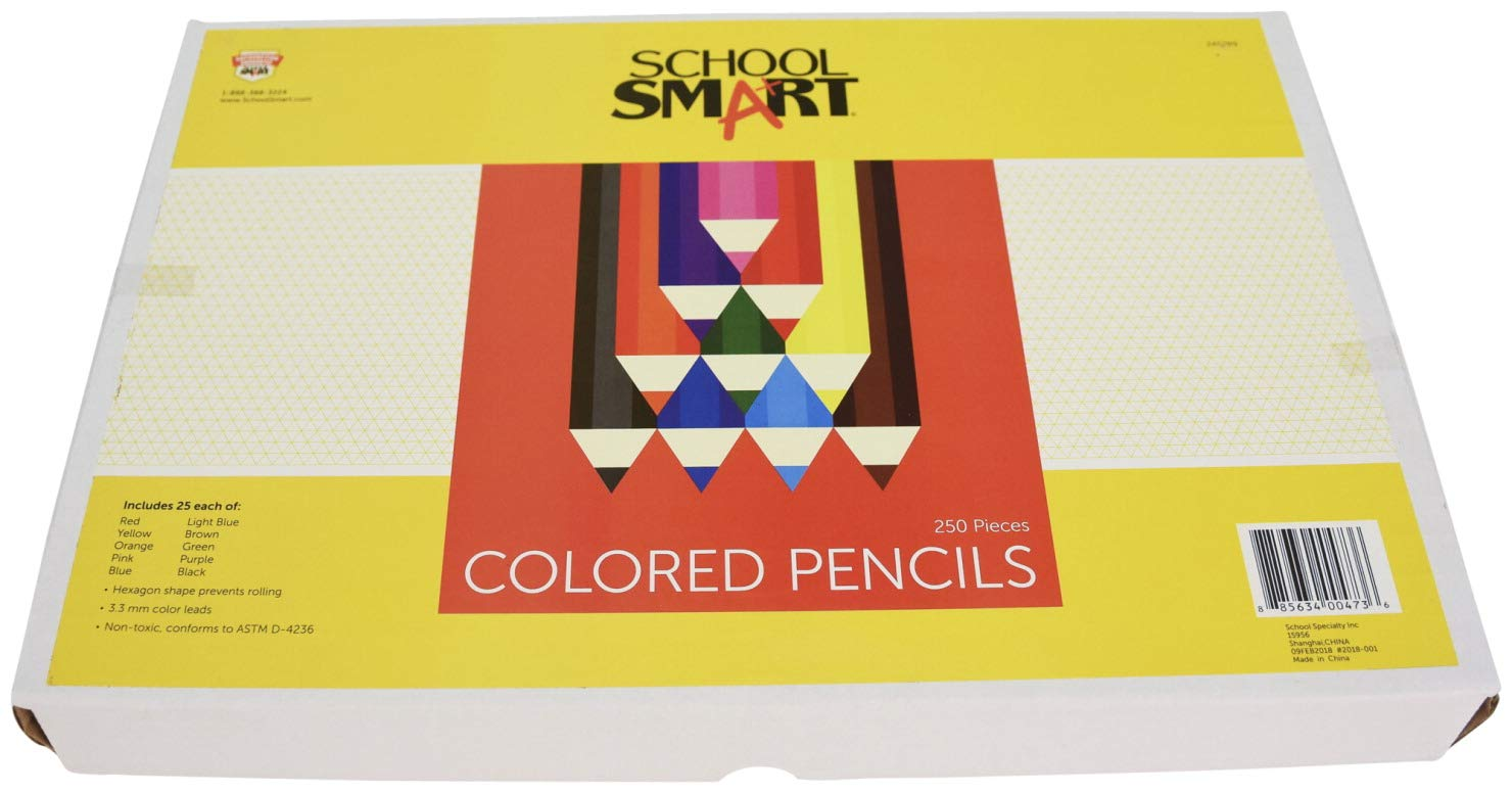School Smart Colored Pencils - 7 inches - Pack of 250-10 Assorted Colors