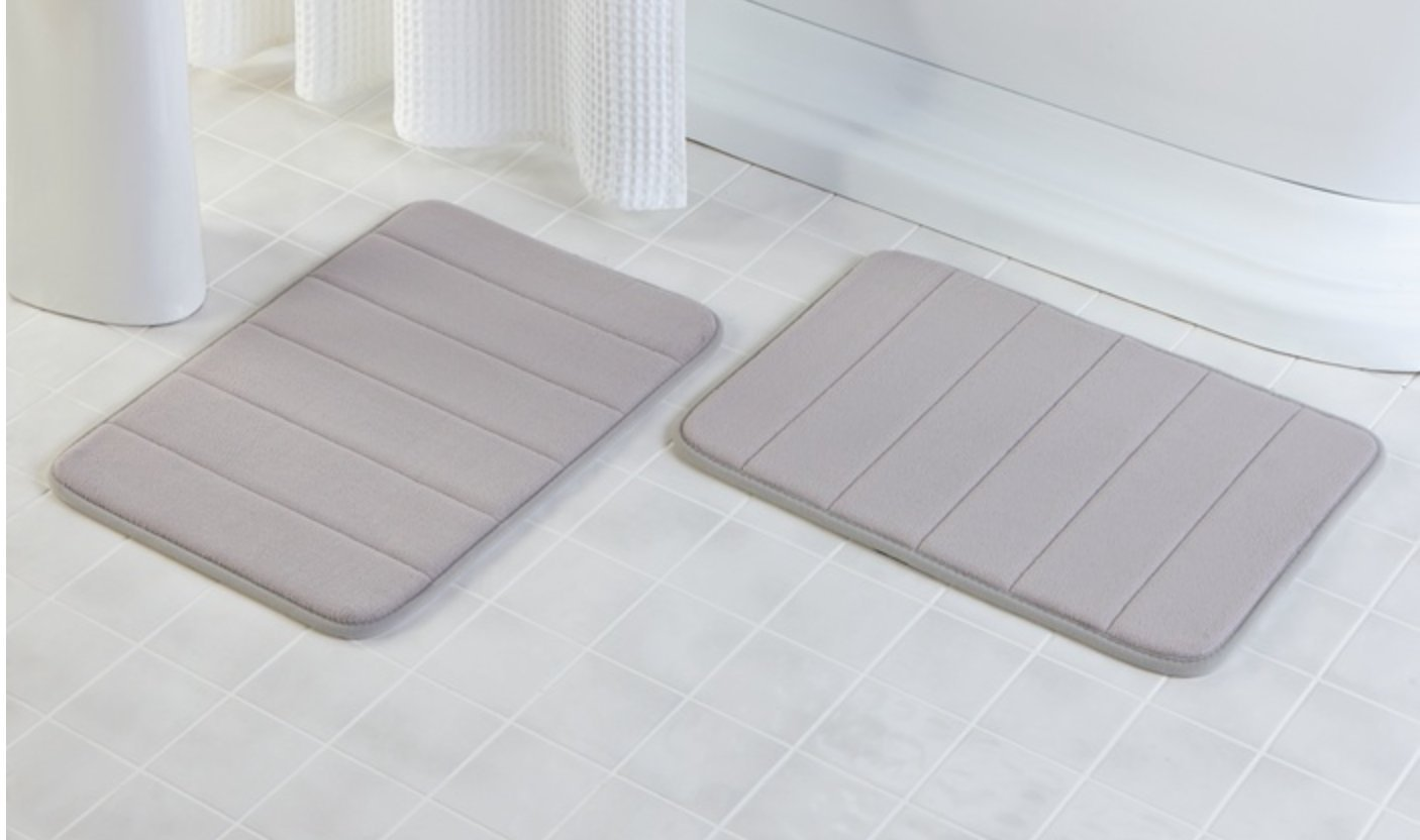 "2Pcs Gray 17""x 24"" Non Slip Coral Velvet Bathmat Absorbent Bath Rugs Memory Foam Bath Mats with Anti-Skid Bottom"