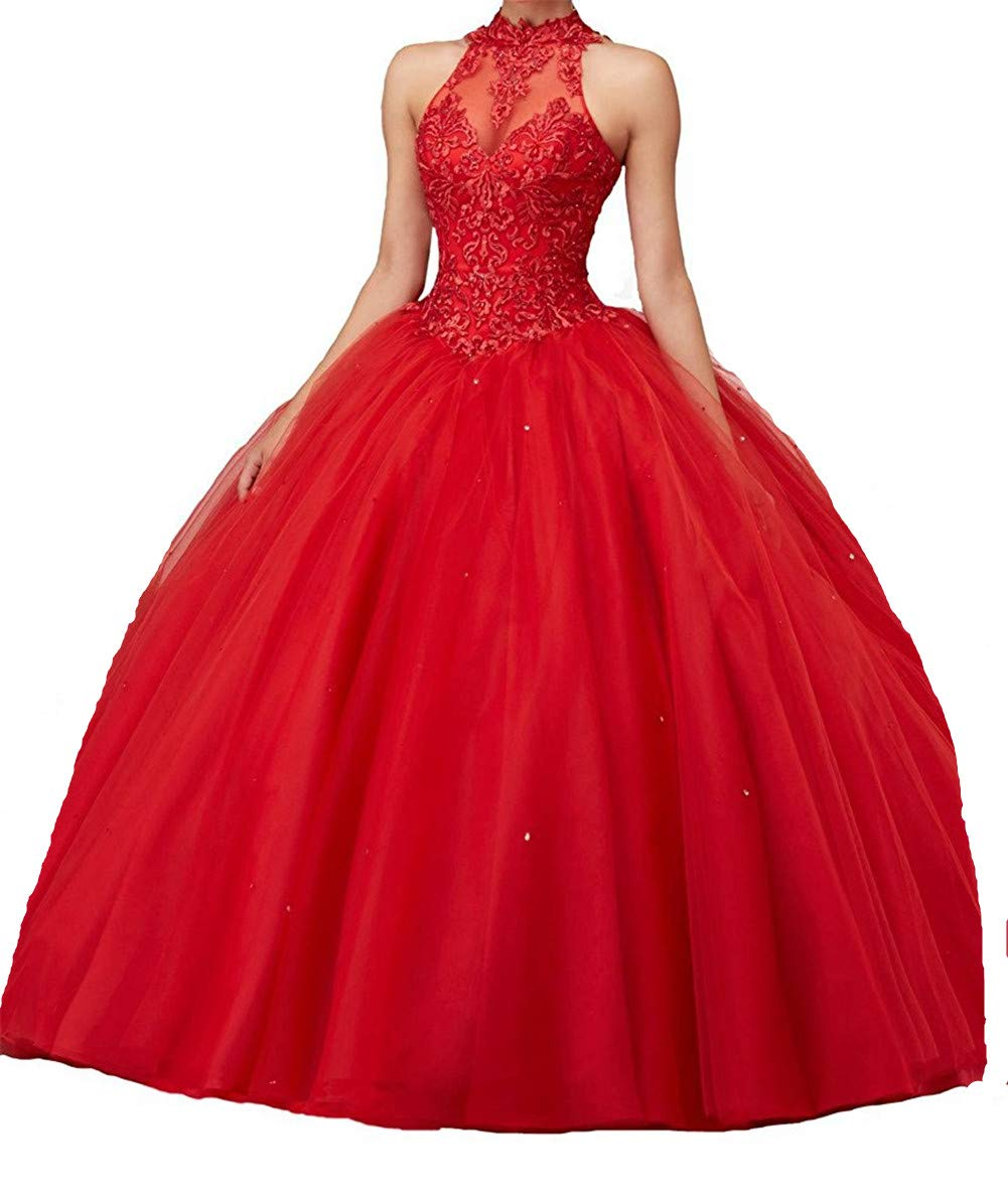charmingbridal High Neck Lace Prom Pageant Ball Gown Quinceanera Dresses Red,16