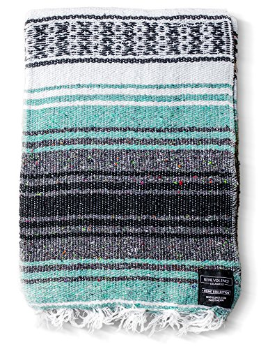 Discover Bargain Benevolence LA Mexican Blanket Authentic Falsa -Thick Soft Woven Acrylic Yoga Serape or as Beach Throw, Picnic, Camping, Travel, Hiking, Adventure, Pillow, Blankets in Pink, Mint, Sand, Gray, Sky Blue