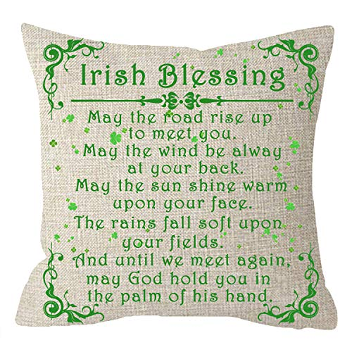 NIDITW Happy St Patricks Day Sister Gift Irish Blessings Lucky Shamrocks Clovers Body Cotton Burlap Linen Throw Pillow Case Pillowcase Cushion Cover Sofa Decorative Square 18 Inches