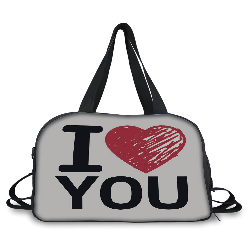 iPrint Travel handbag,I Love You,Simplistic Love You Calligraphy Wedding Lovers Relationship Illustration Decorative,Red Charcoal Grey ,Personalized