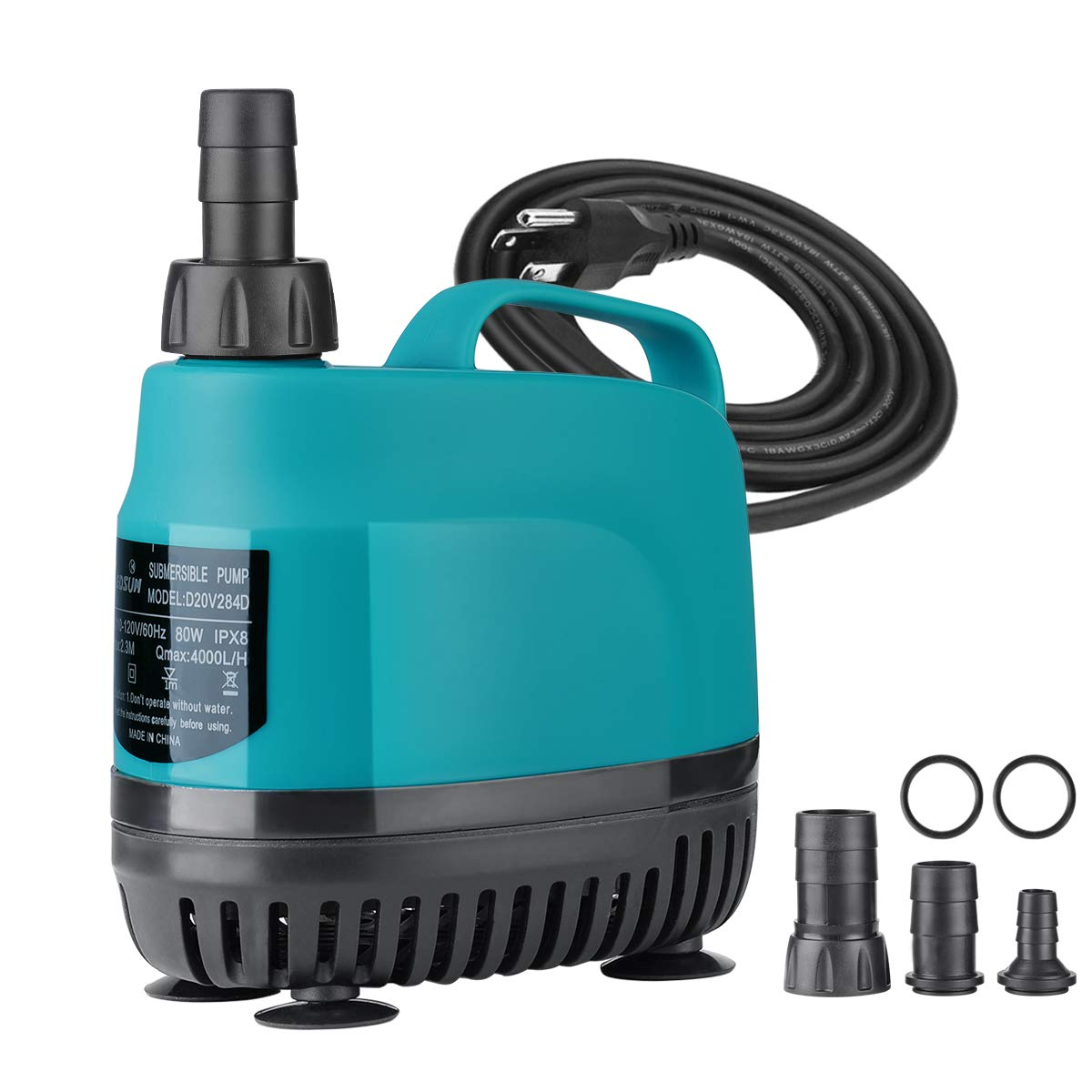 KEDSUM 1060GPH Submersible Water Pump(4000L/H, 80W), Ultra Quiet Submersible Pump with 11.5ft High Lift, Aquarium Pump with 5.9ft Power Cord, 4 Nozzles for Fountain, Pond, Fish Tank, Hydroponics by KEDSUM