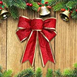 Christmas Large Bow, 10 Pcs Large Bow Glitter Bowknot Christmas Wreath Bow for Christmas Tree Party Gift Present Xmas Decoration, 9.4inch*8.3inch (Red)