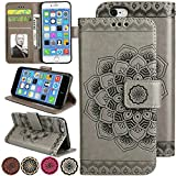 Wallet iPhone 6s Plus Case, Apple iPhone 6 Plus Case, Credit Card Holder Leather Cover Kickstand Folio Magnetic Case for iPhone6s Plus/iPhone6 Plus (Grey)