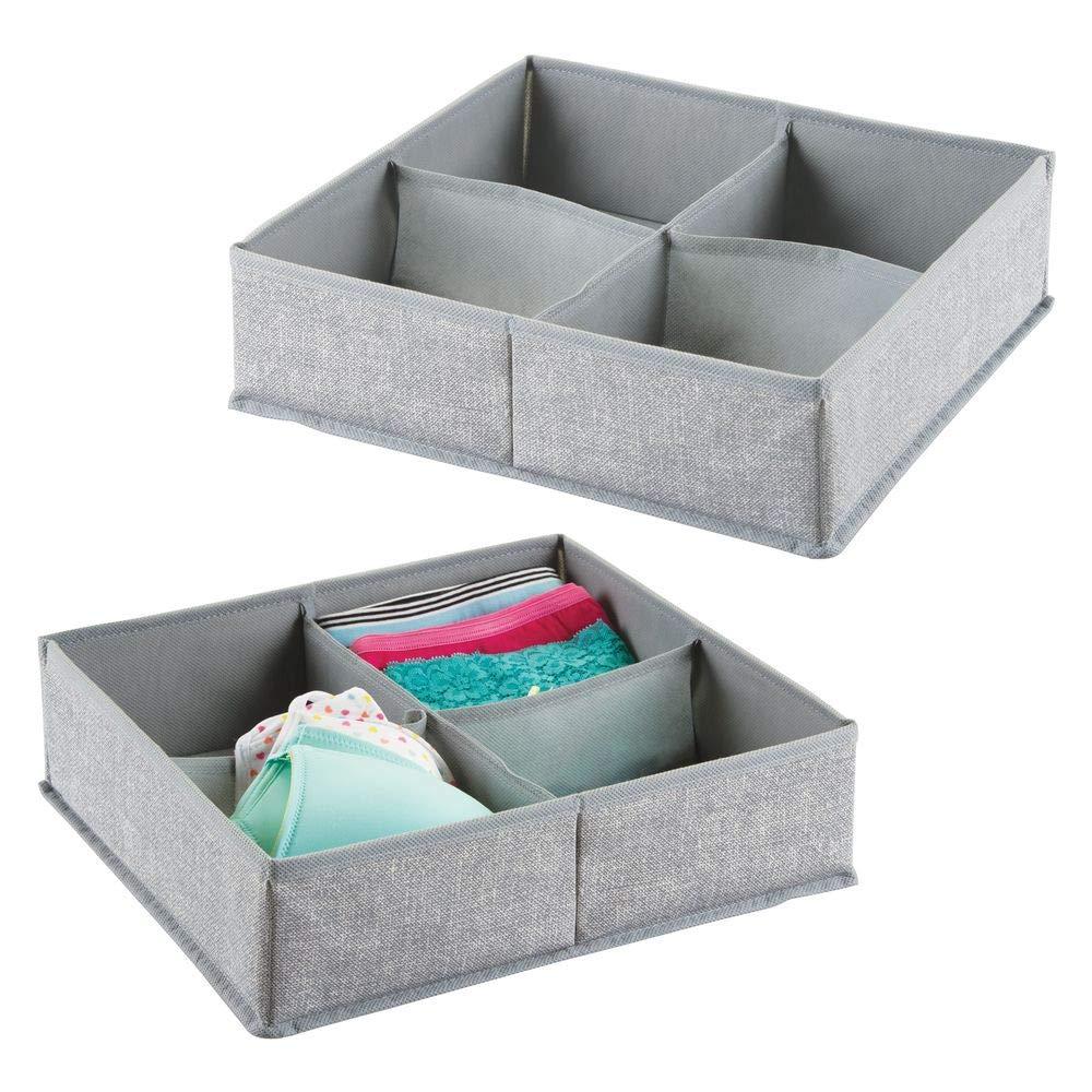 mDesign set da 2 scatole in tessuto con 4 scomparti coperte e biancheria Portaoggetti e portabiancheria per la casa Colore: grigio Ideale per vestiti
