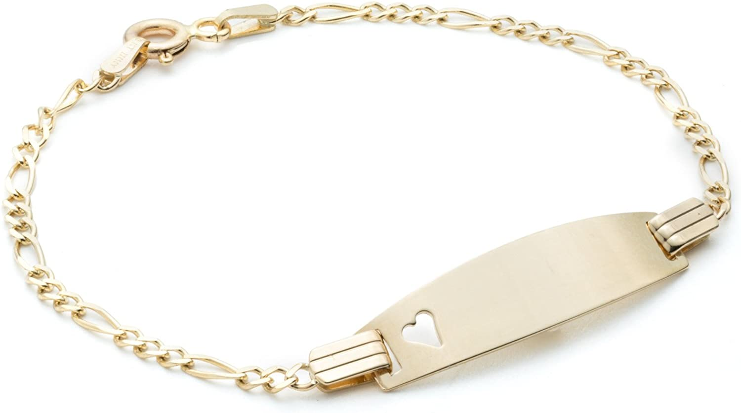 Floreo 10k Yellow Gold Figaro Customized ID Bracelet with Small Heart Free Engraving for Children 2mm