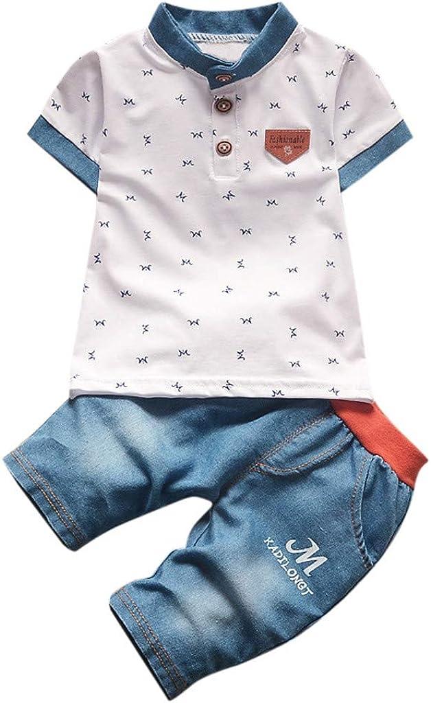 Daoope Vestiti 0-24 Bambina Vestiti di Neonati Vestiti per Neonati Estate Abbigliamento 24 Mesi Ragazzo M Lettera Stampa Manica Corta T-Shirt Cowboy Pantaloni Set di Due Pezzi