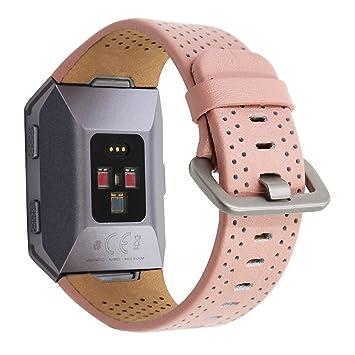 PINHEN para Fitbit Ionic Correas de Cuero – Correa de Repuesto de Cuero Genuino para Fitbit Ionic Smart Fitness Watch