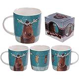 Puckator XMUG06 Christmas Reindeer and Hanging Stockings Printed Mug by Jan Pashley Porcelain, 9 x 12 x 9 cm