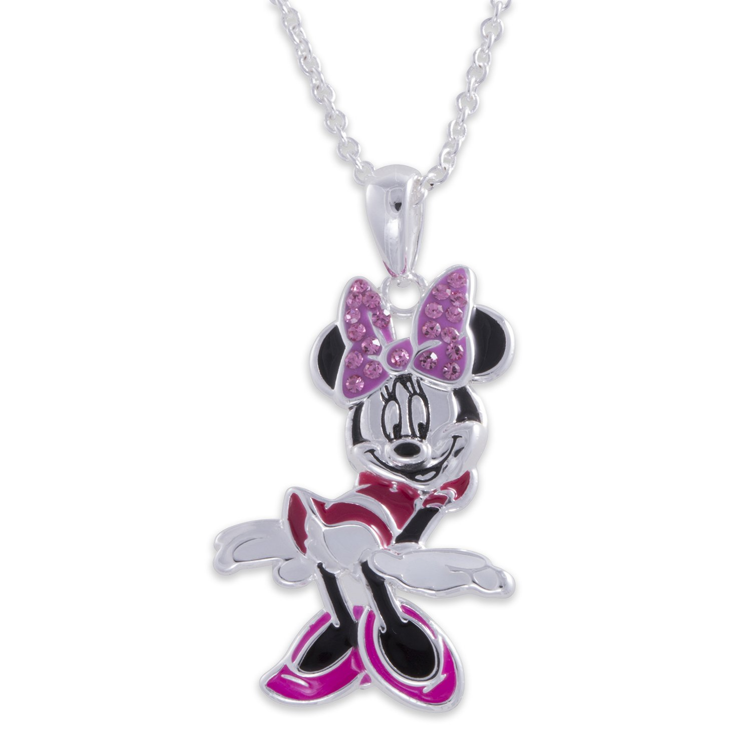 Disney Minnie Mouse Silver Plated Enamel Crystal Pendant W//Bow GIFT BOXED Jewelry Jacmel