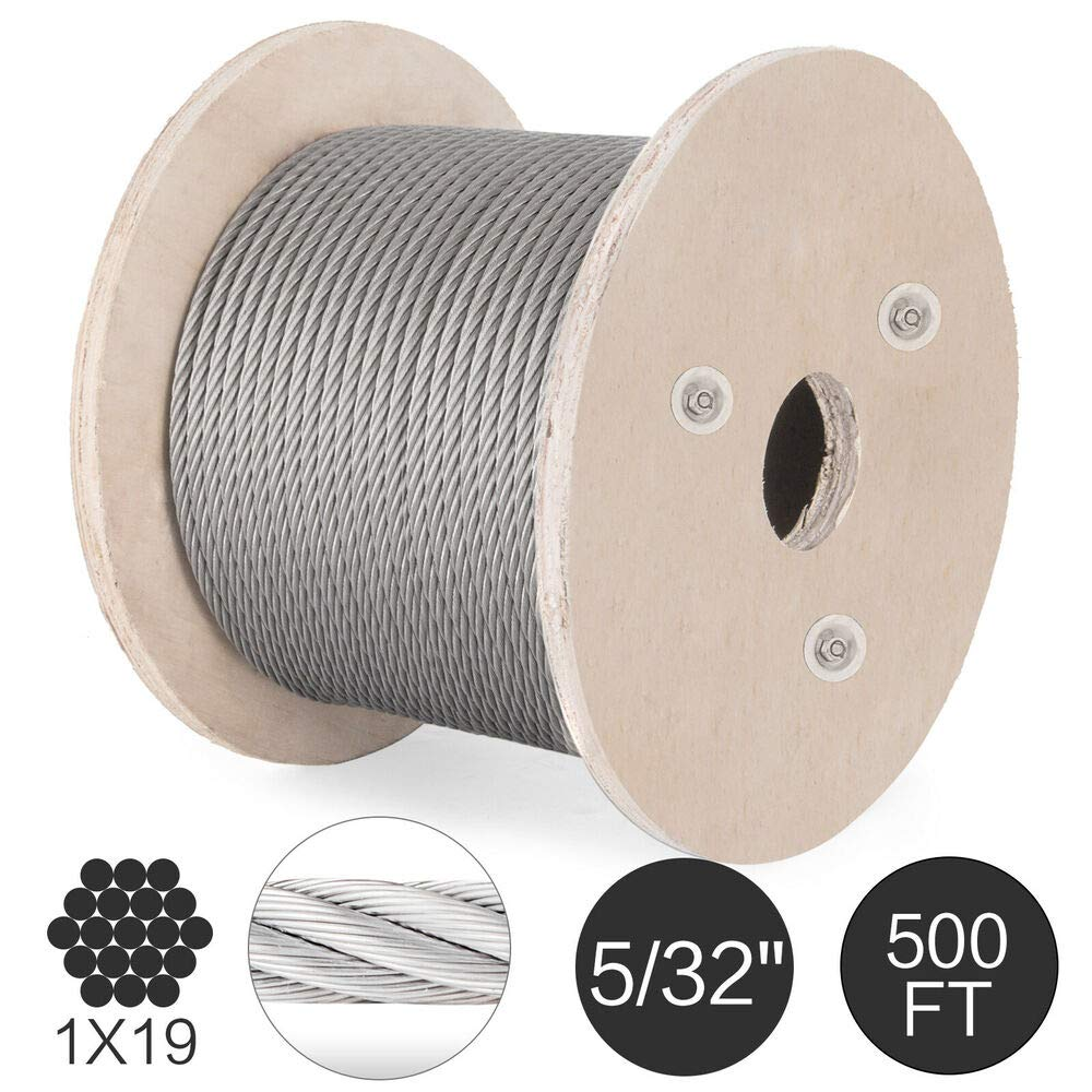 500FT 1x19 Stainless Steel Cable Wire Rope 5/32 Lifting Fishery Mining