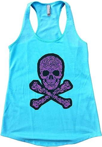 Womens Skeleton Top Goth Workout Tanks For Women Alternative Clothing Misfits Shirt Hot Pink Skull Tank Top