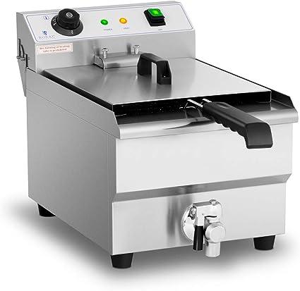 Royal Catering Freidora Eléctrica Profesional RCEF-13EHB (3.200 Watt, Temperatura: 60-200 °C, Con Zona Fría y Grifo De Vaciado, 13 Litros)