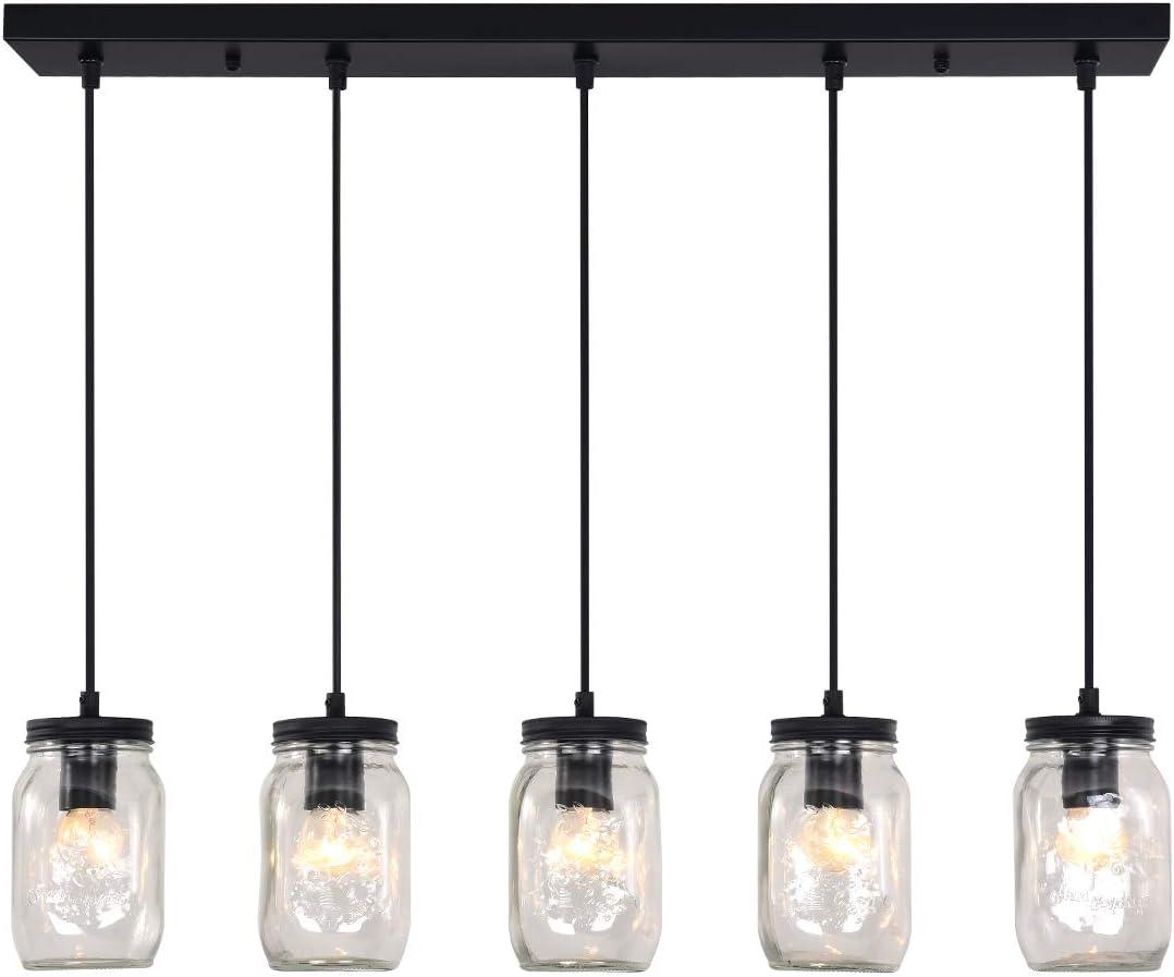 bgLight Farmhouse Dining Room Light Fixture, 5-Light Adjustable Mason Jar Glass Rustic Chandelier Ceiling Hanging Light for Kitchen Island, Coffee, Bar, Living Room